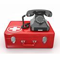 Erakorralise medistsiini ja kiirabi osakonda tähistav pilt/link - kiirabikohver telefoniga